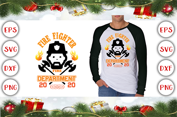 Fire Fighter Fire Department 2020T-Shirt Design Graphic Print Templates By Design Cafe