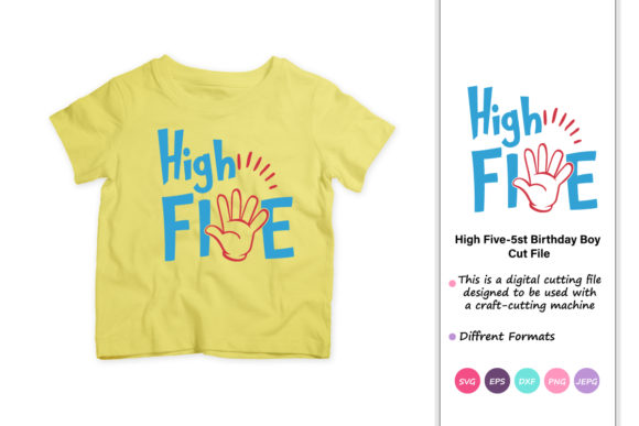 Download Free High Five 5th Birthday Boy Graphic By Iprintasty Creative Fabrica for Cricut Explore, Silhouette and other cutting machines.
