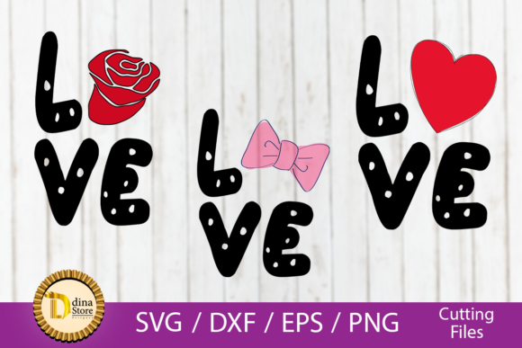 Download Free Love Rose Heart Bowtie Graphic By Dina Store4art Creative Fabrica for Cricut Explore, Silhouette and other cutting machines.