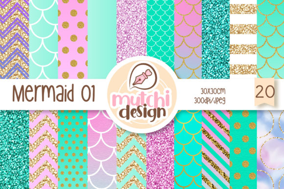 Mermaid Digital Papers 01 Graphic Backgrounds By Mutchi Design