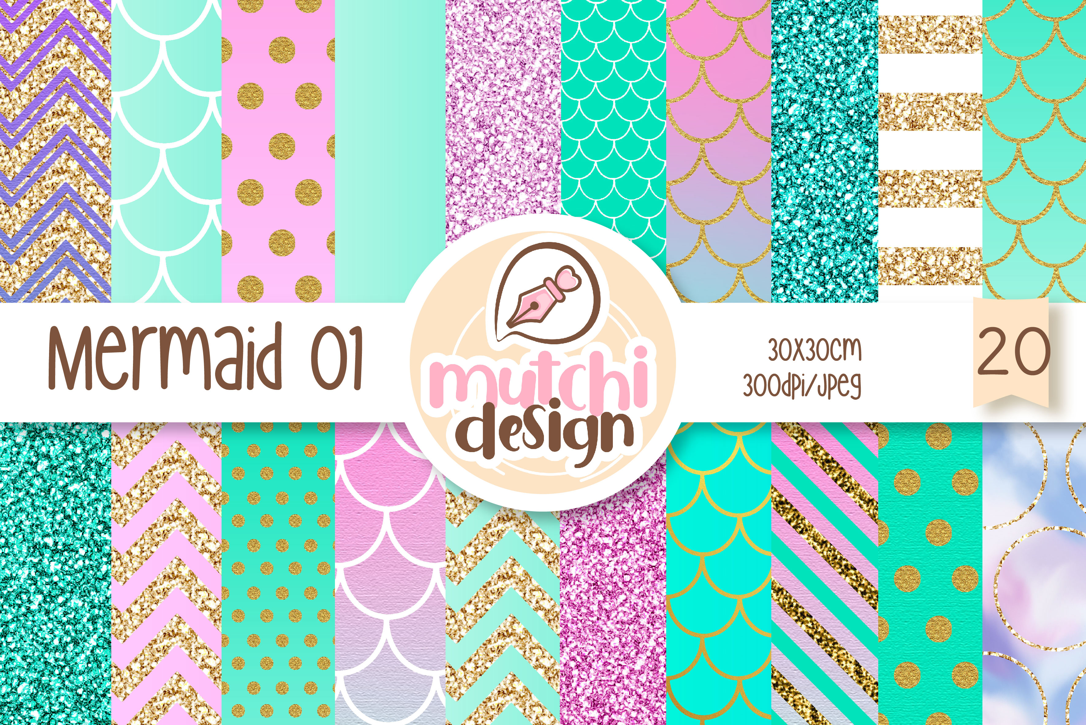 Download Free Mermaid Digital Papers 01 Graphic By Mutchi Design Creative for Cricut Explore, Silhouette and other cutting machines.