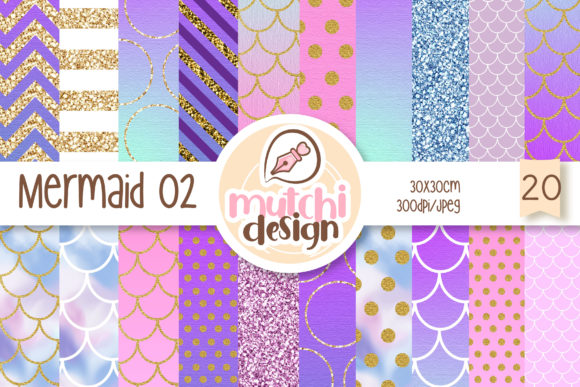 Print on Demand: Mermaid Digital Papers 02 Grafik Hintegründe von Mutchi Design