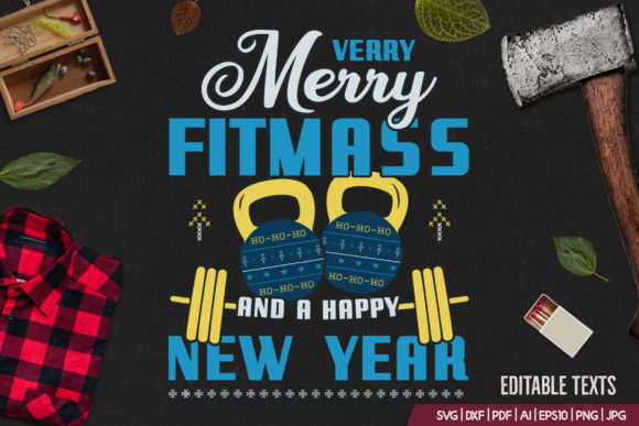 Merry Fitmass, Happy New Year Tshirt Graphic Print Templates By JeksonGraphics - Image 2