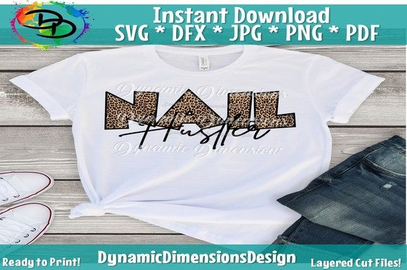Print on Demand: Nail Hustler, Nail Tech Leopard Graphic Crafts By dynamicdimensions
