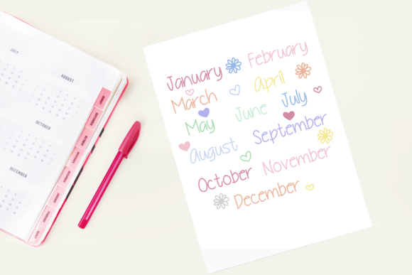Download Free Pastel Months Of The Year Stickers Graphic By Am Digital Designs for Cricut Explore, Silhouette and other cutting machines.