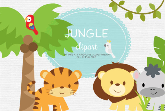 Baby Jungle Safari Animals Graphic Illustrations By ThePaperOwl