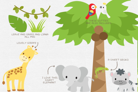 Download Free Baby Jungle Safari Animals Graphic By Thepaperowl Creative Fabrica for Cricut Explore, Silhouette and other cutting machines.