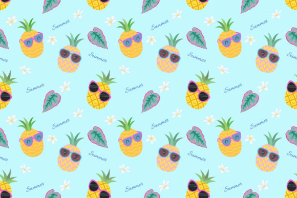 Cartoon Pineapple with Sunglasses. Graphic Patterns By ranger262