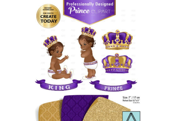 Print on Demand: Purple and Gold Baby Prince/King Royal Gráfico Ilustraciones Por adlydigital