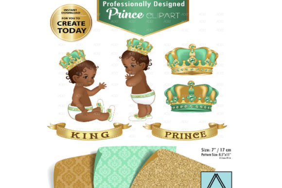 Print on Demand: Royal Mint Green and Gold Baby Prince Graphic Illustrations By adlydigital - Image 1