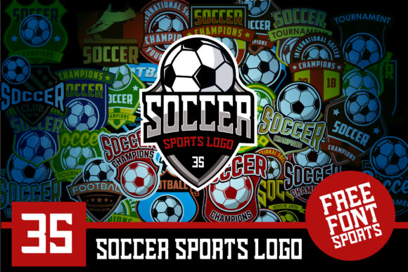 Download Free Set 35 Football Soccer Logo Template Graphic By Ikhsan Hidayat for Cricut Explore, Silhouette and other cutting machines.
