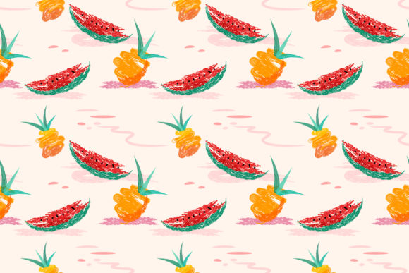 Seamless Summer Pineapples, Watermelon. Graphic Patterns By ranger262