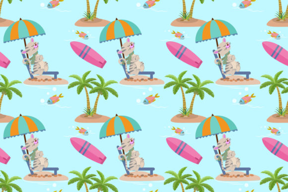 Cute Summer Cat on the Beach Pattern. Graphic Patterns By ranger262