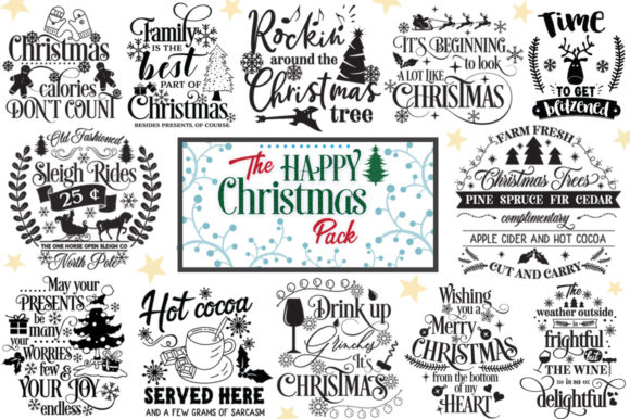 The Happy Christmas Pack - 30 Cut Files Graphic Crafts By Nerd Mama Cut Files
