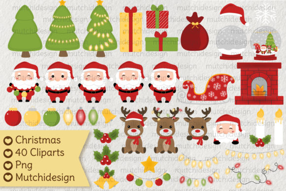 Christmas Cute Cliparts Graphic Illustrations By Mutchi Design
