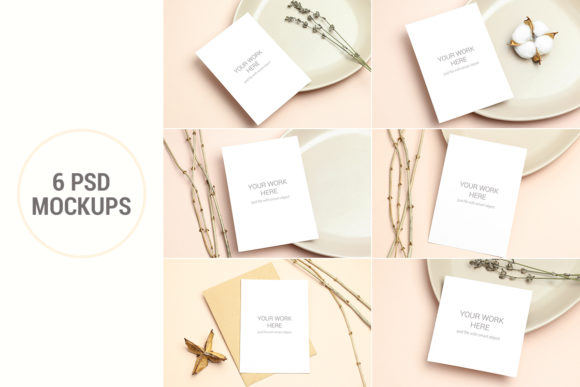 Print on Demand: Mockups Invitation Cards Pack Graphic Product Mockups By PawStudio
