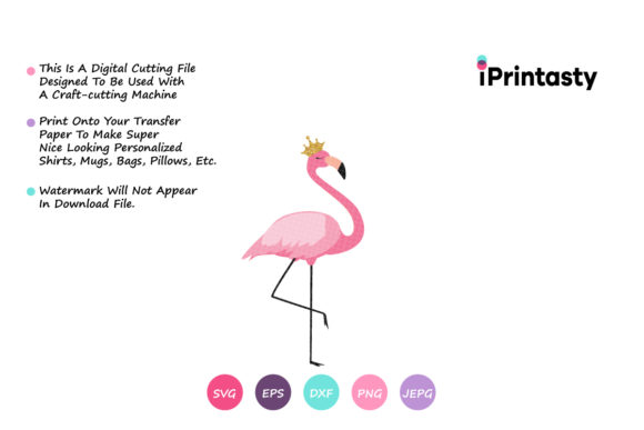 Download Free Flamingo Little Princess Graphic By Iprintasty Creative Fabrica for Cricut Explore, Silhouette and other cutting machines.