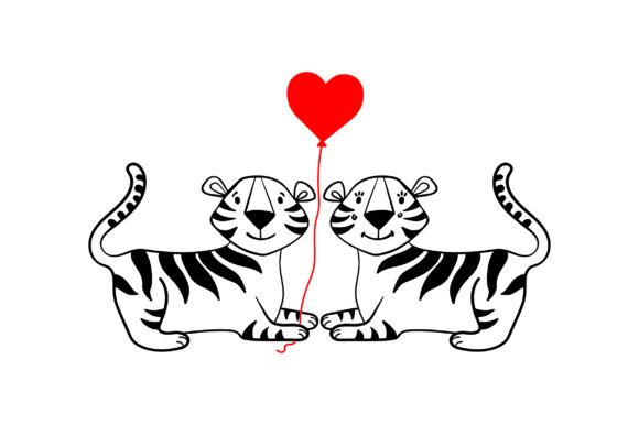 Lover Tigers Valentine's Day Craft Cut File By Creative Fabrica Crafts