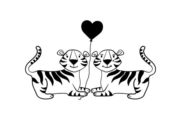 Lover Tigers Valentine's Day Craft Cut File By Creative Fabrica Crafts - Image 2