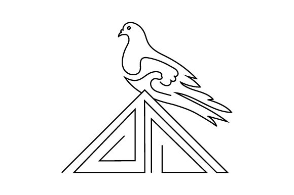 Download Free Pigeon Sitting On Roof Line Art Style Svg Cut File By Creative for Cricut Explore, Silhouette and other cutting machines.