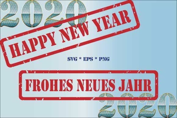 Download Free 2020 Happy New Year Frohes Neues Jahr Graphic By Graphicsfarm for Cricut Explore, Silhouette and other cutting machines.
