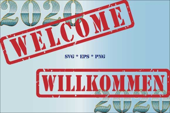 Download Free 2020 Welcome Willkommen Rubber Stamp Graphic By Graphicsfarm for Cricut Explore, Silhouette and other cutting machines.