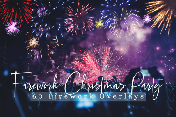 Print on Demand: 60 Firework Christmas Party Overlays Graphic Backgrounds By 3Motional