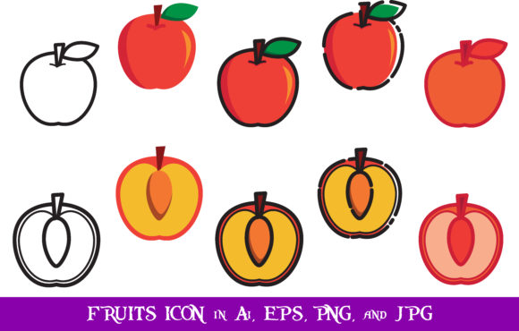 Download Free Apple Fruits Icon Bundle Graphic By Purplespoonpirates for Cricut Explore, Silhouette and other cutting machines.