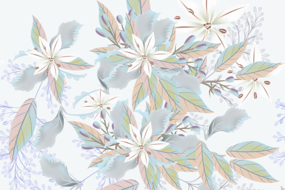 Beautiful Pattern with Flowers Leaves Graphic Patterns By fleurartmariia