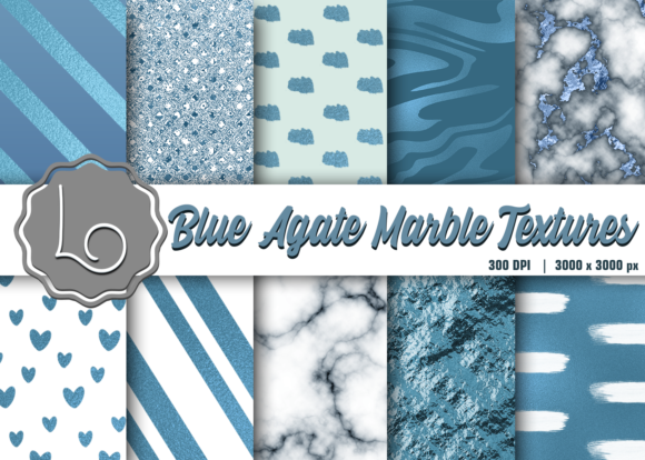 Print on Demand: Blue Agate Marble Textures Graphic Textures By La Oliveira