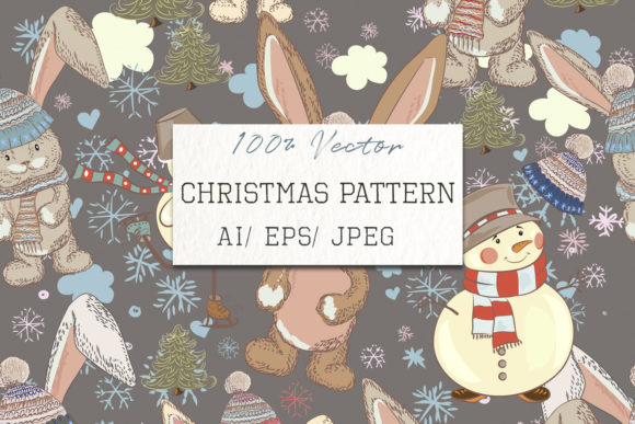 Christmas Cute Pattern with Pretty Hare Graphic Patterns By fleurartmariia