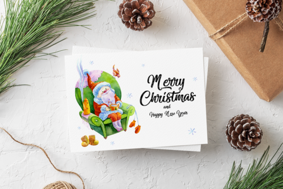 Download Free Christmas Greeting Card Template Graphic By Elephantart for Cricut Explore, Silhouette and other cutting machines.