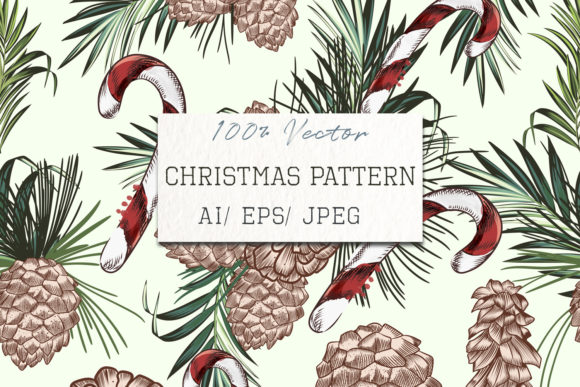 Christmas Vector Pattern with Fur Tree Graphic Patterns By fleurartmariia