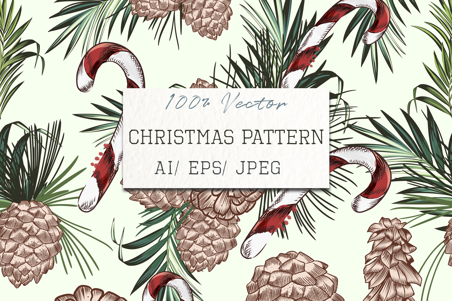 Download Free Christmas Vector Pattern With Fur Tree Graphic By Fleurartmariia for Cricut Explore, Silhouette and other cutting machines.