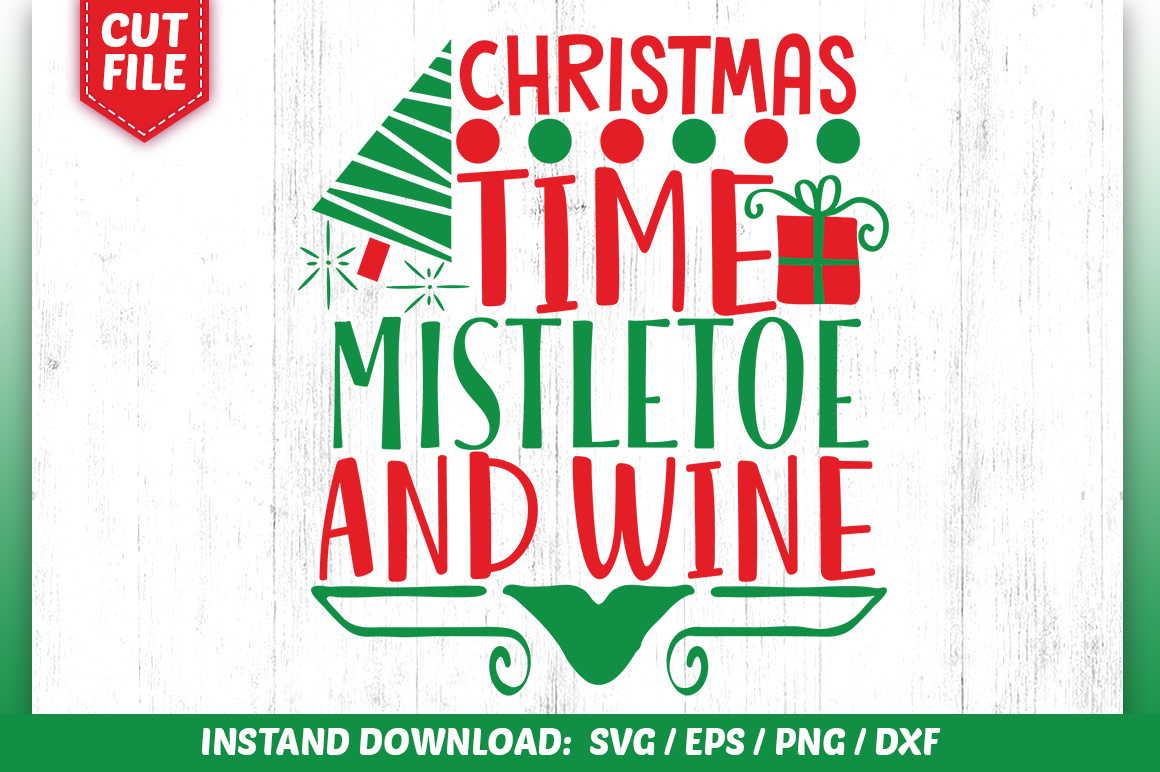 Download Free Christmas Time Mistletoe And Wine Svg Graphic By Subornastudio for Cricut Explore, Silhouette and other cutting machines.