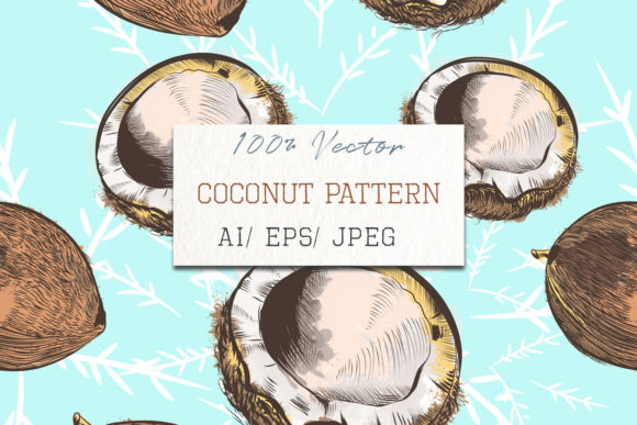 Coconut Vector Pattern on Blue Graphic Patterns By fleurartmariia