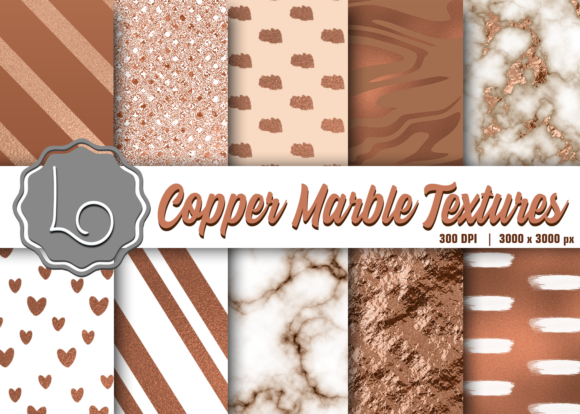 Print on Demand: Copper Marble Textures Graphic Textures By La Oliveira