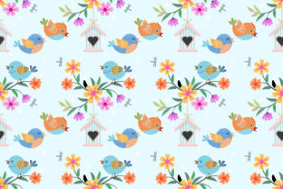 Download Free Cute Cartoon Bird And Flowers Pattern Graphic By Ranger262 for Cricut Explore, Silhouette and other cutting machines.