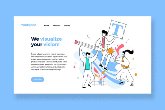 Download Free Design Agency Landing Page Graphic By Unfuturstudio Creative for Cricut Explore, Silhouette and other cutting machines.