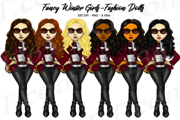 Fancy Winter Fashion Girls Clipart Graphic Illustrations By Deanna McRae