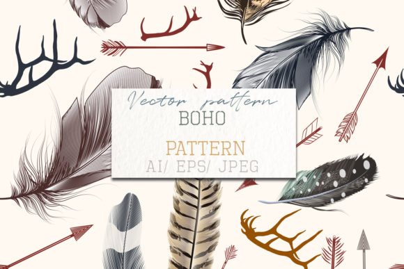 Fashion Bohemian Pattern with Feathers Graphic Patterns By fleurartmariia