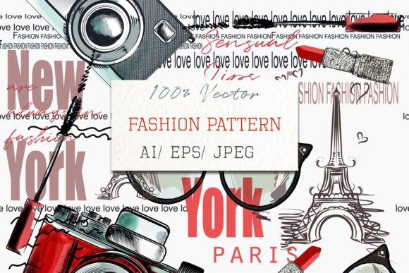 Fashion Vector Pattern Lipstick Camera Graphic Patterns By fleurartmariia