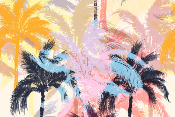 Fashion Vector Pattern with Palm Trees Graphic Patterns By fleurartmariia