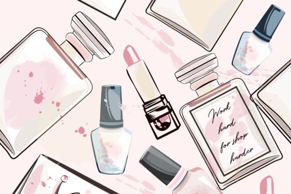 Fashion Vector Pattern with Perfume Graphic