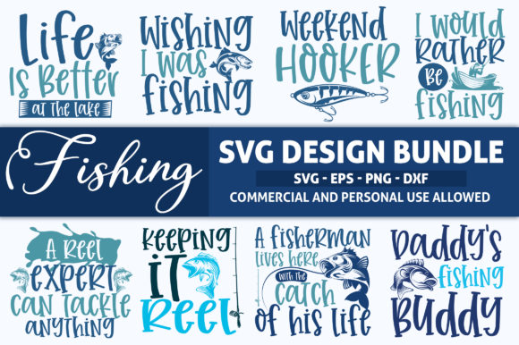 Print on Demand: Fishing SVG Design Bundle Vol 1 Graphic Crafts By SubornaStudio