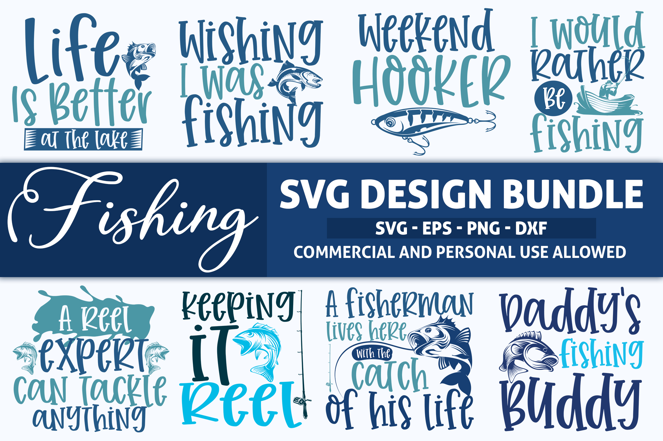 Download Free Fishing Design Bundle Vol 1 Graphic By Subornastudio Creative for Cricut Explore, Silhouette and other cutting machines.