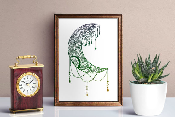 Download Free Floral Mandala Moon Zentangle Graphic By Dasagani Creative Fabrica for Cricut Explore, Silhouette and other cutting machines.