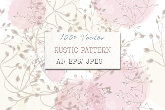 Floral Pink Pattern with Elegant Plants Graphic Patterns By fleurartmariia