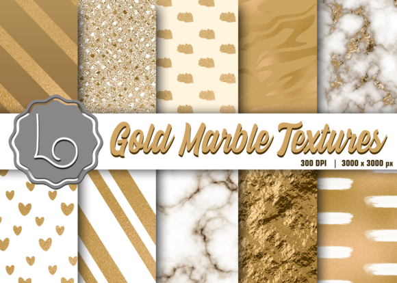 Print on Demand: Gold Marble Textures Graphic Textures By La Oliveira