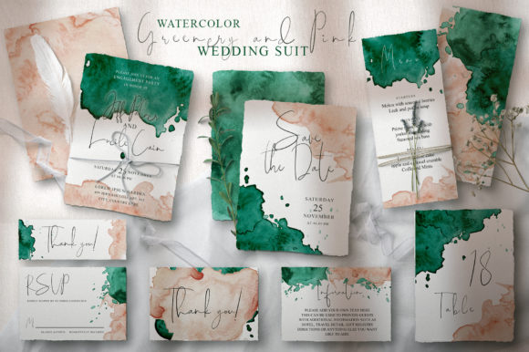 Greenery and Pink Wedding Suit Graphic Graphic Templates By EvgeniiasArt